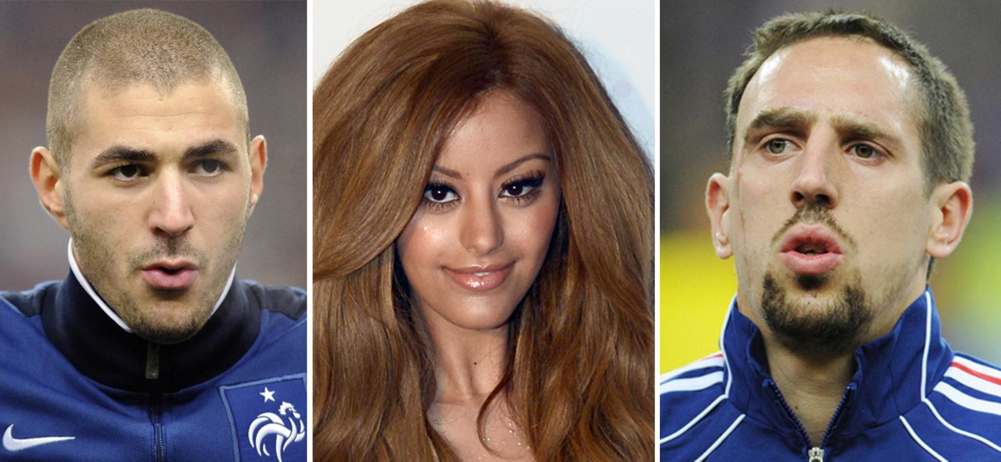 This combination made on January 20, 2014 shows AFP file images of French international footballers Franck Ribery and Karim Benzema (L) and a picture of French designer Zahia Dehar taken in Paris on July 3, 2013. Benzema and Ribery will go on trial in Paris on January 20, 2014 for soliciting Zahia Dehar, a minor, for prostitution.