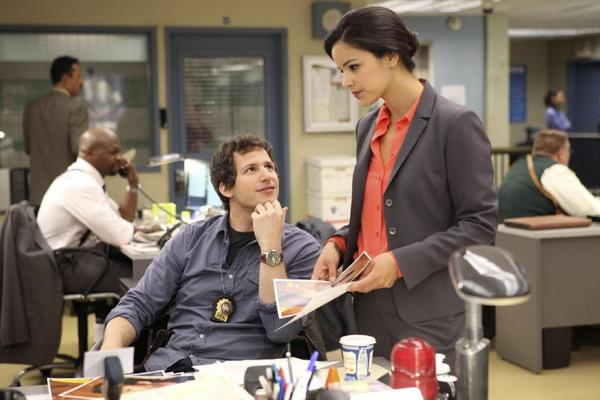 "Andy Samberg, Melissa Fumero in ""Brooklyn Nine-Nine"""