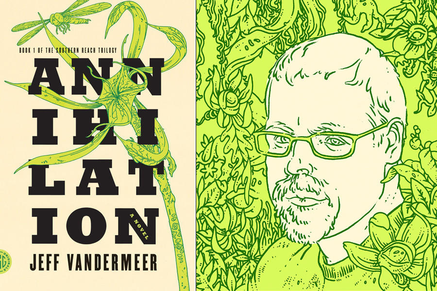 "The cover of ""Annihilation"" and illustration of author Jeff Vandermeer."