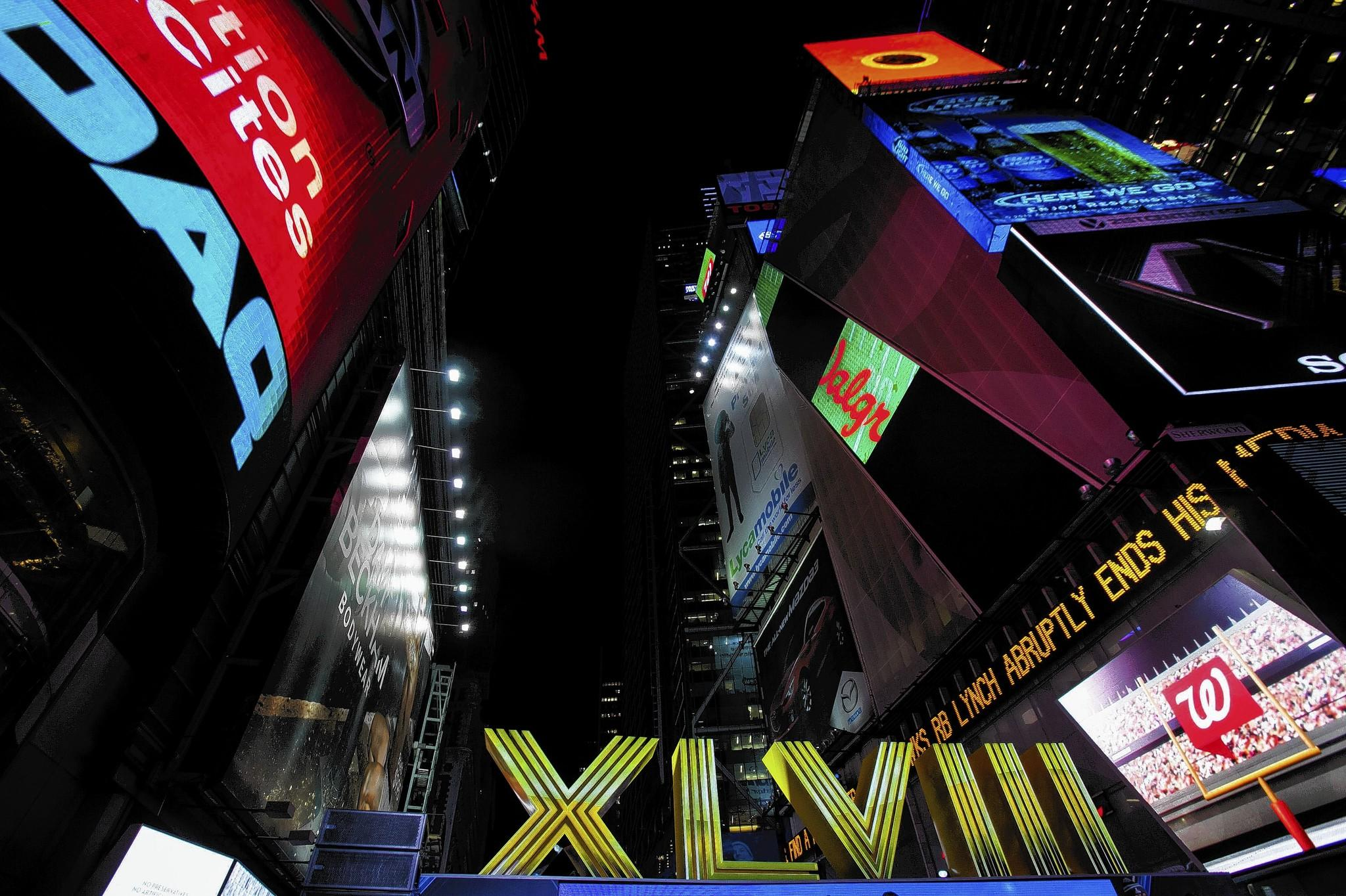 The numerals for the game are seen at an opening ceremony for 'Super Bowl Boulevard' along Broadway as preparations continue for Super Bowl XLVIII in New York.