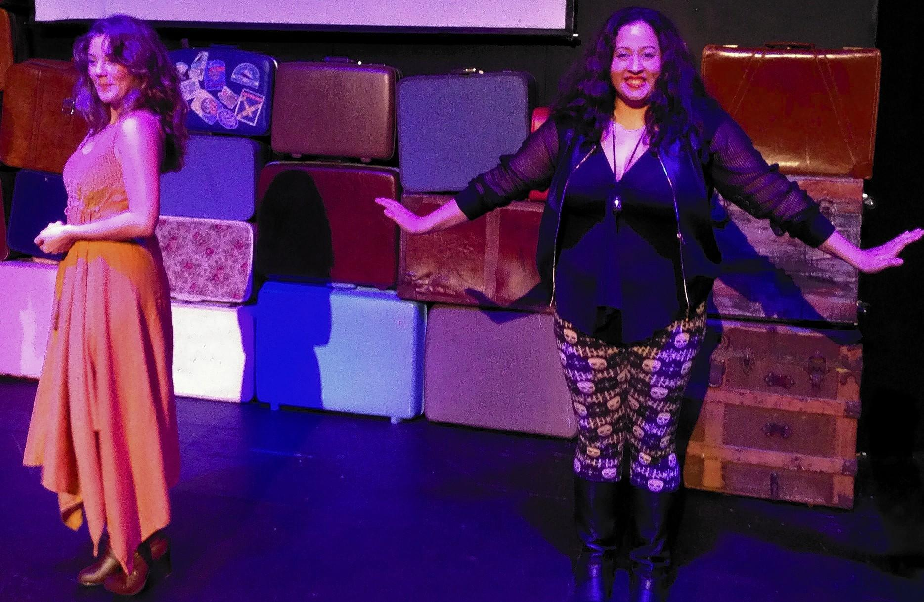"""From left, Savannah Simerly and Pilar Rehert in the Bay Street Players production of """"Secrets Every Smart Traveler Should Know."""""""