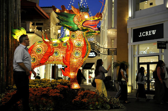 As Chinese New Year approaches, several Los Angeles-area malls are putting up decorations and arranging festivities and promotions around the holiday. Above, a dragon at the Grove.