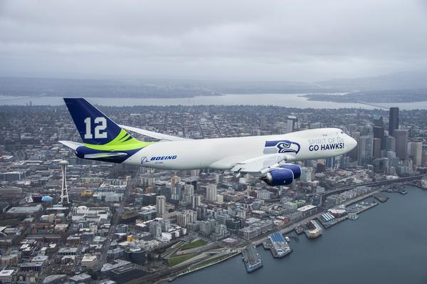Boeing Co. 747-8 Freighter painted in Seattle Seahawks colors