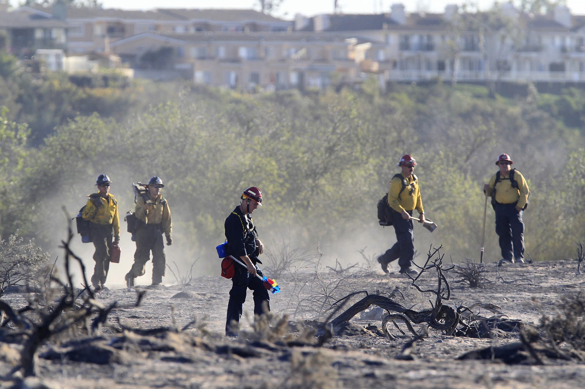 Firefighters survey the scene after a brush fire damaged about three acres in Talbert Regional Park.