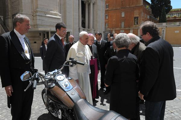 Next week, Bonhams will auction off a Harley-Davidson motorcycle owned by, and signed by, Pope Francis.