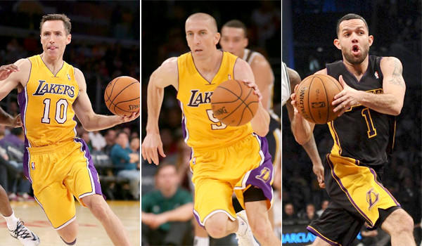 Injured point guards Steve Nash, left, Steve Blake, center, and Jordan Farmar have returned to practiced Thursday for the Lakers and could make a return to the court as soon as Tuesday.