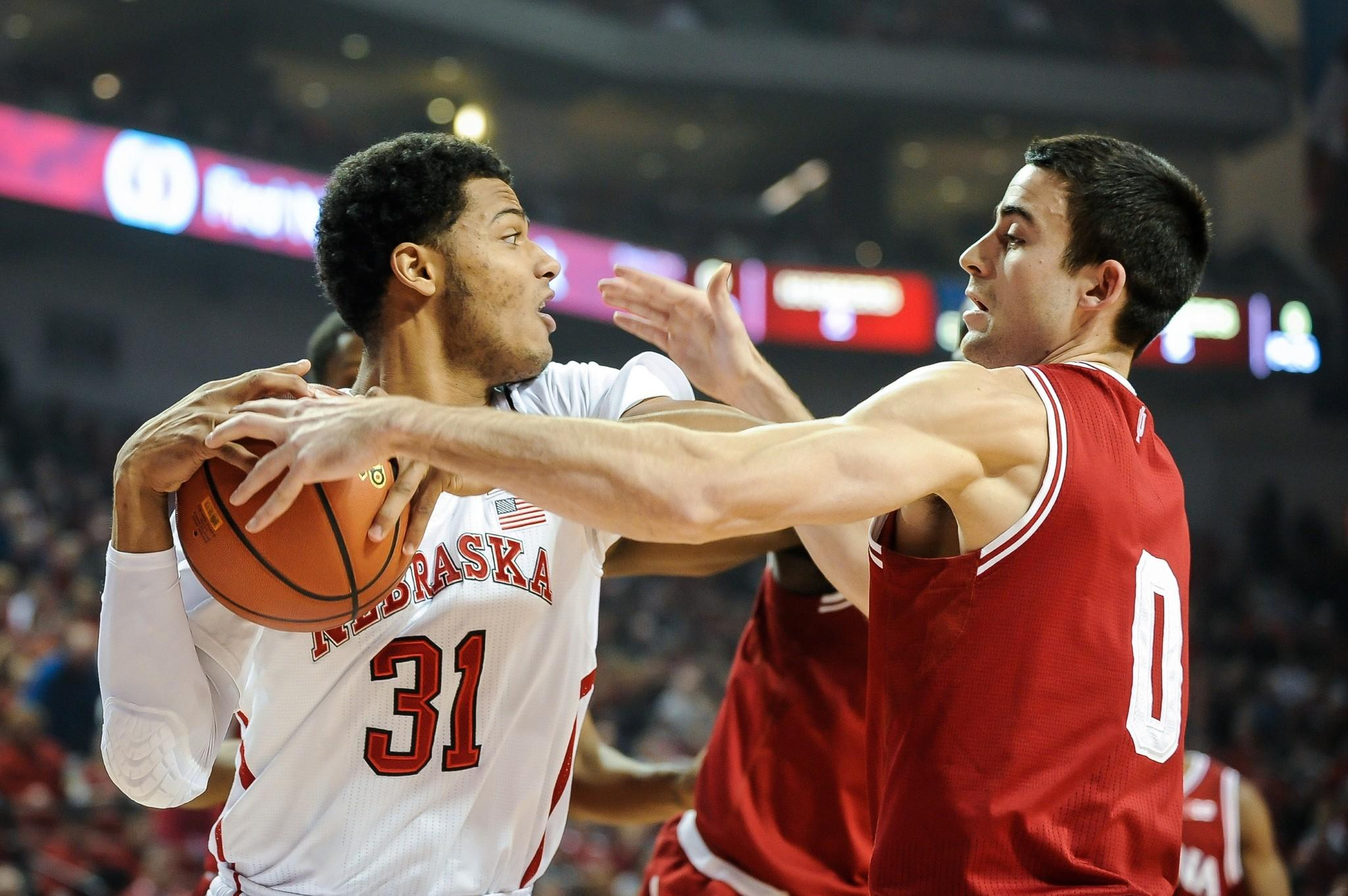 Nebraska's Shavon Shields is defended by Indiana's Will Sheehey.