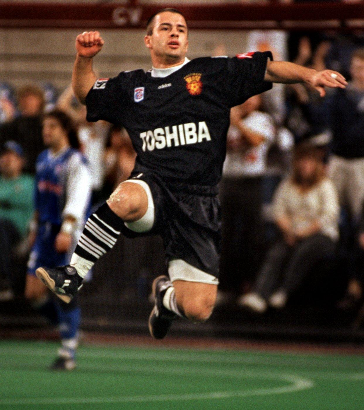BALTIMORE, MD--2/28/99--Buffalo Blizzard at Baltimore Blast at the Baltimore Arena. Blast's # 5, Denison Cabral, celebrates after scoring a goal. Staff Photo/ Karl Merton Ferron.