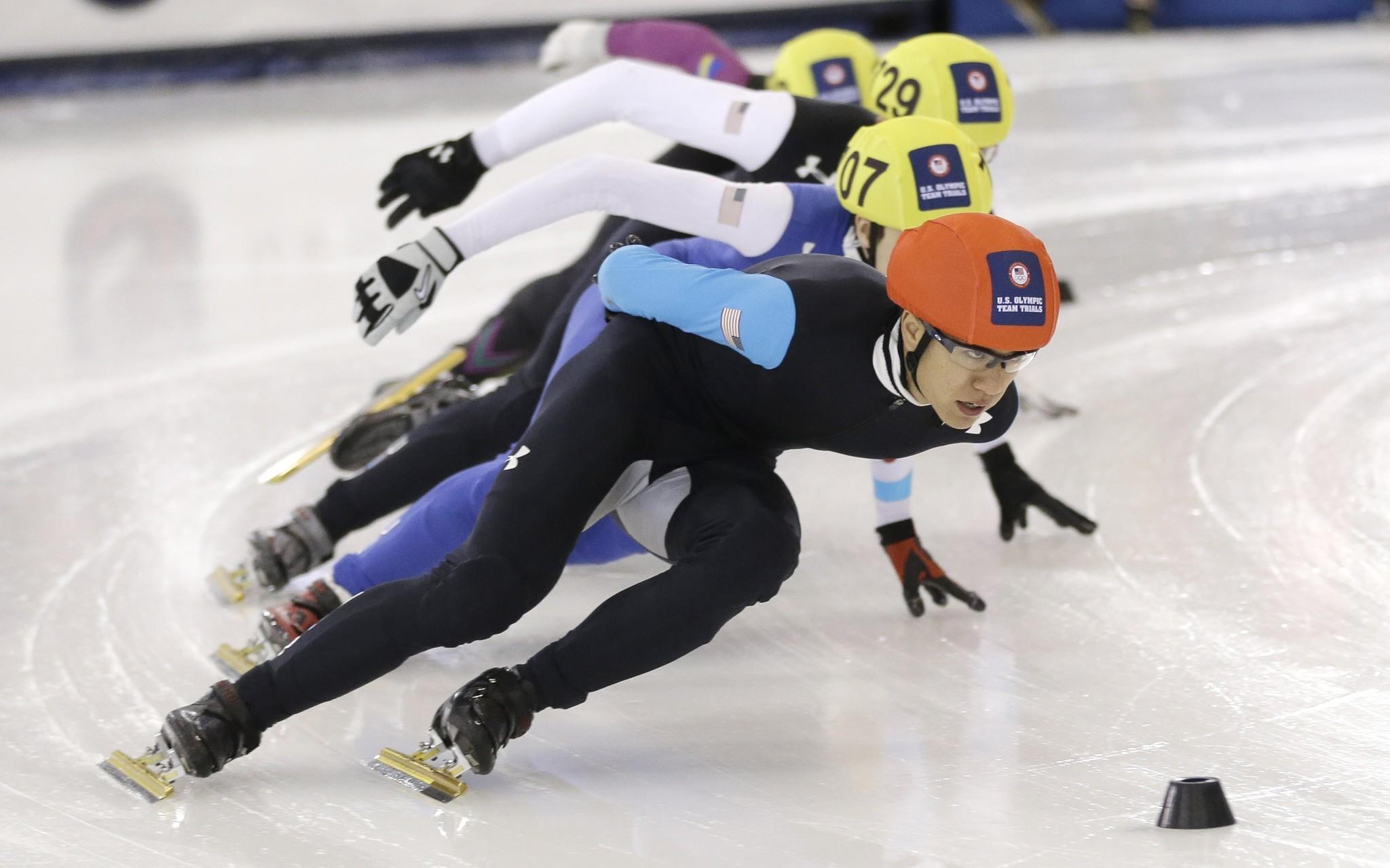 Short-track speedskaters like J.R. Celski, who leads a 1,000-meter race during the U.S. Olympics trials, could soon compete against long-track skaters for big paydays on the international stage.