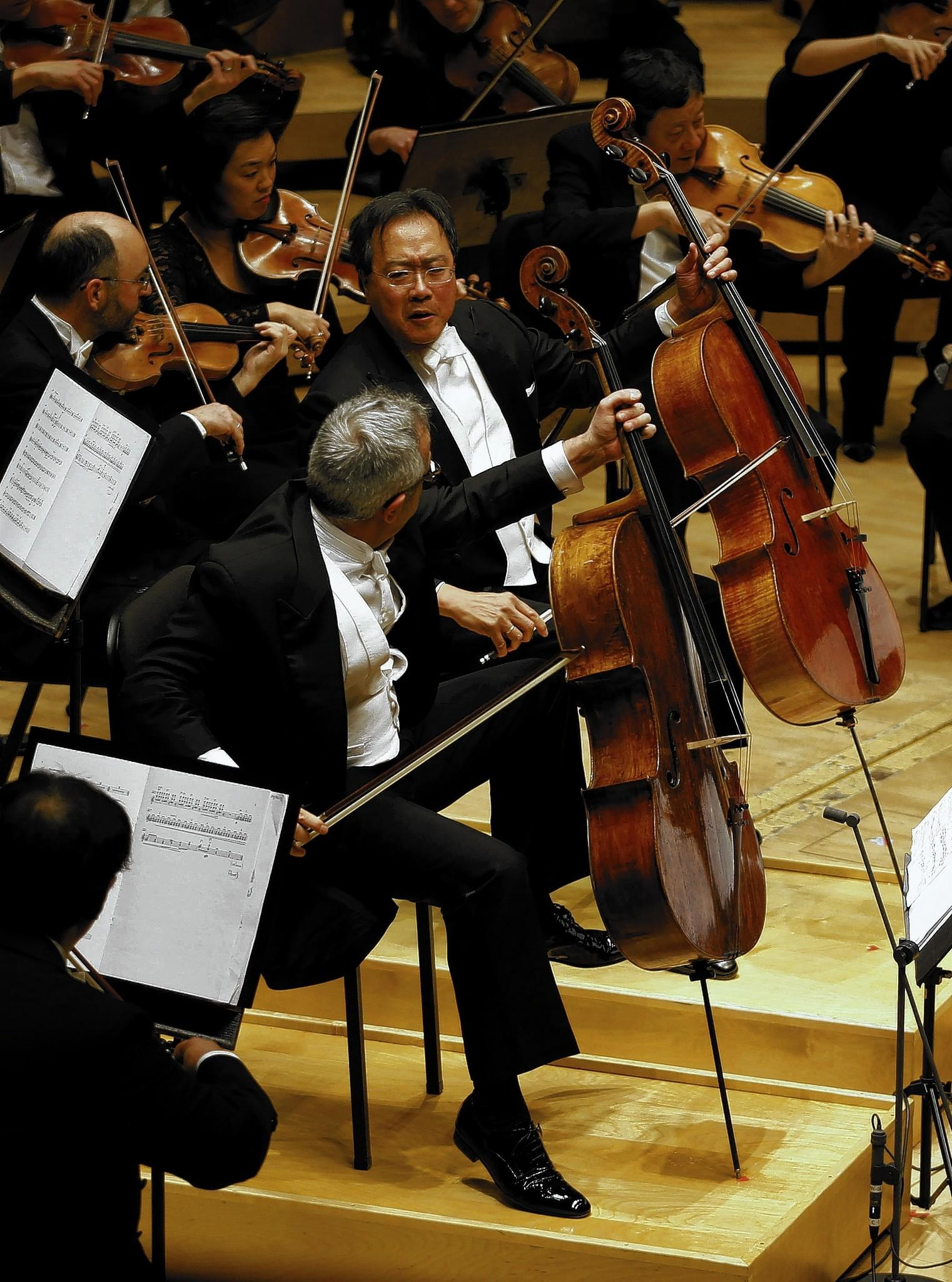 Cellist Yo-Yo Ma (right) and Giovanni Sollima perform with the CSO.