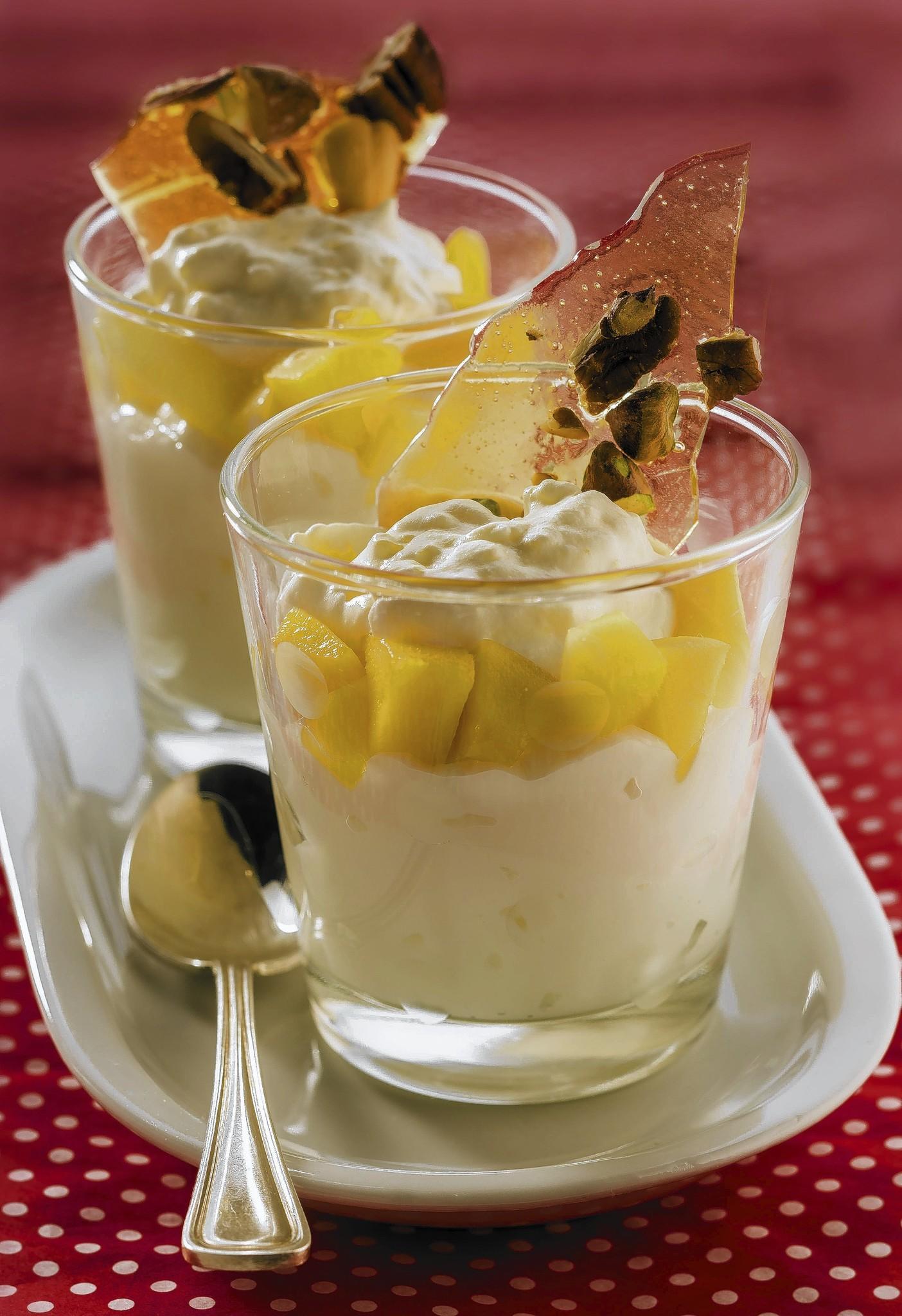 Vanilla pudding with mango cream and salted almond caramel.