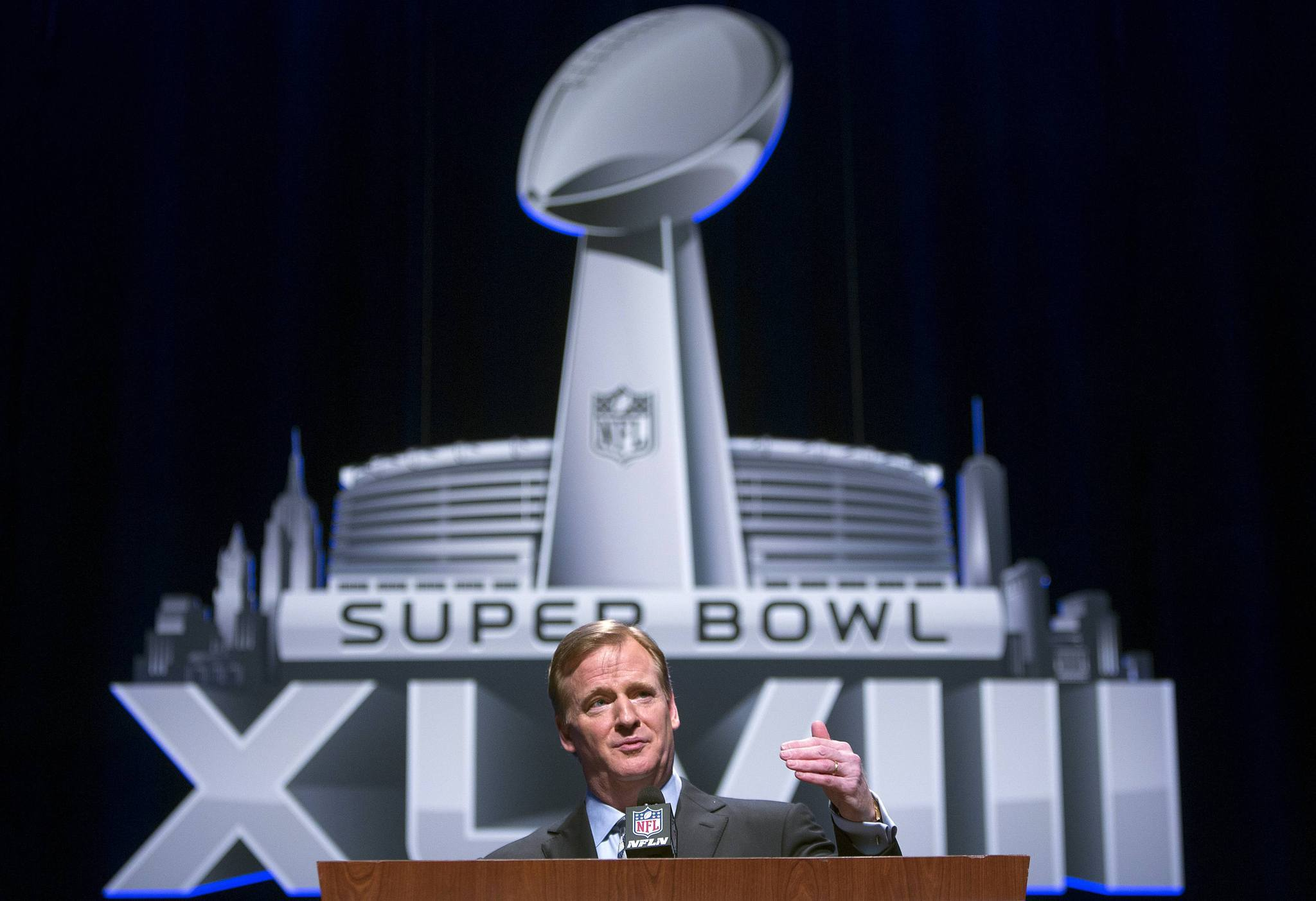 NFL Commissioner Roger Goodell speaks during a news conference ahead of the Super Bowl, in New York on Jan. 31