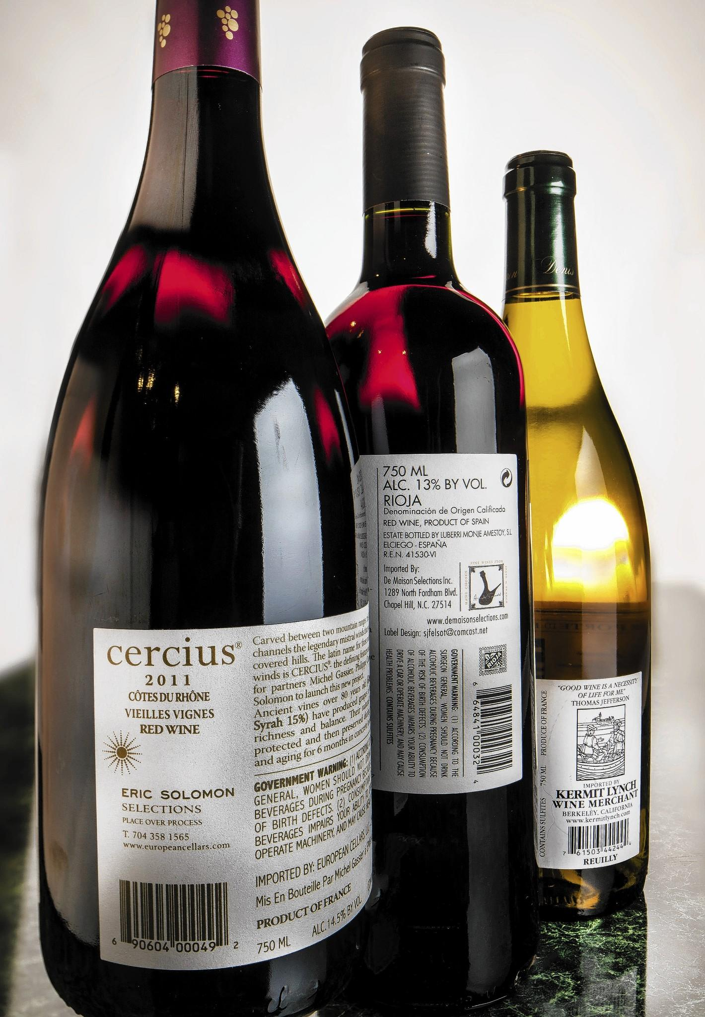 Labels on imported wines.