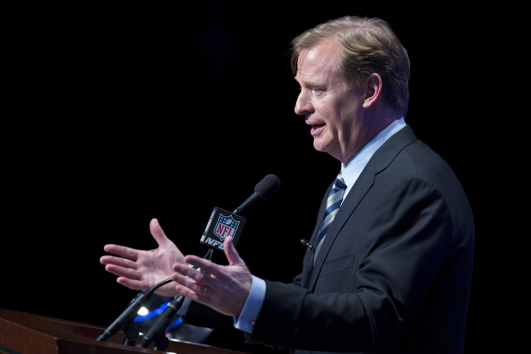 NFL Commissioner Roger Goodell speaks during a news conference ahead of the Super Bowl in New York on Friday.