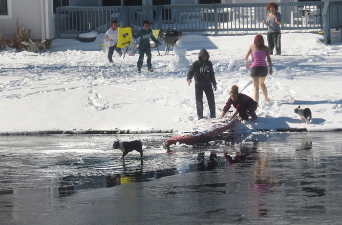 Firetrucks responded, and two dogs and an attempted rescuer were pulled from the water and ice, respectively, at Southall Landing, near Foxhill Rd., Hampton
