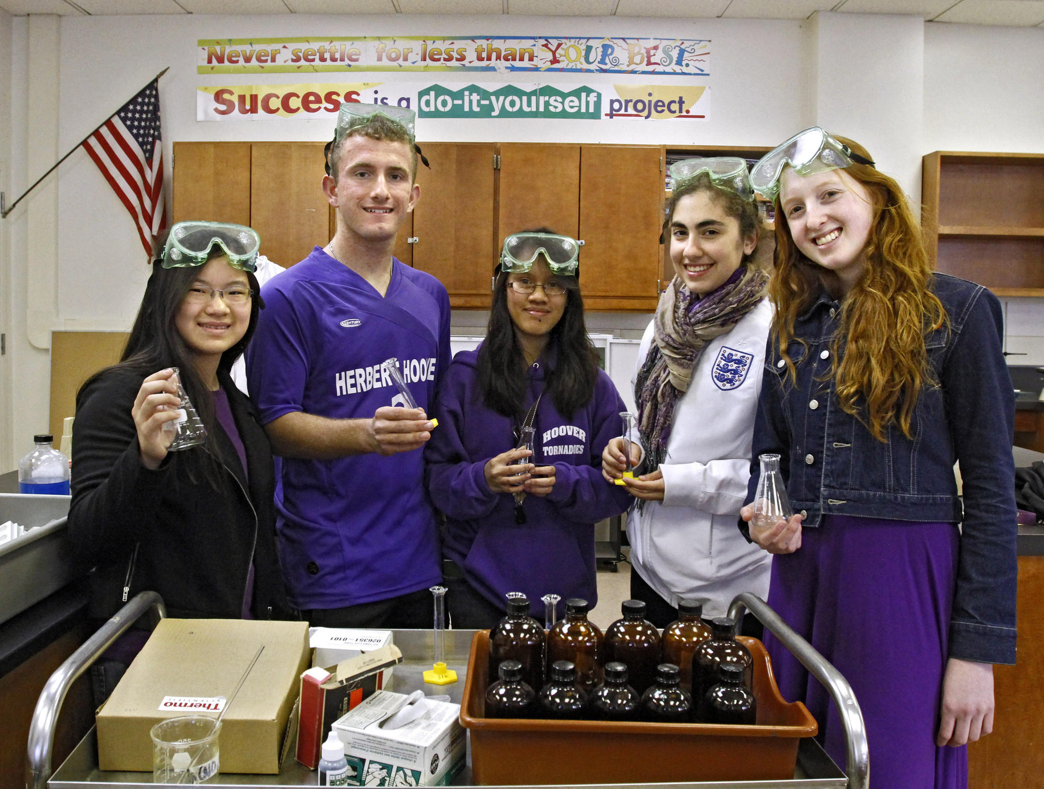 Hoover High School students, (l-r) junior Meagan Yuen, senior Jacob Deyell, juniors Charis Ramirez, and Daphne Bogosian and sophomore Kristina Laue, who will compete in a regional competition of the National Science Bowl tomorrow, are shown at the Glendale school on Friday, January 31, 2014. The regional battle of brains will determine if these students will compete in the national finals in Washington, D.C.