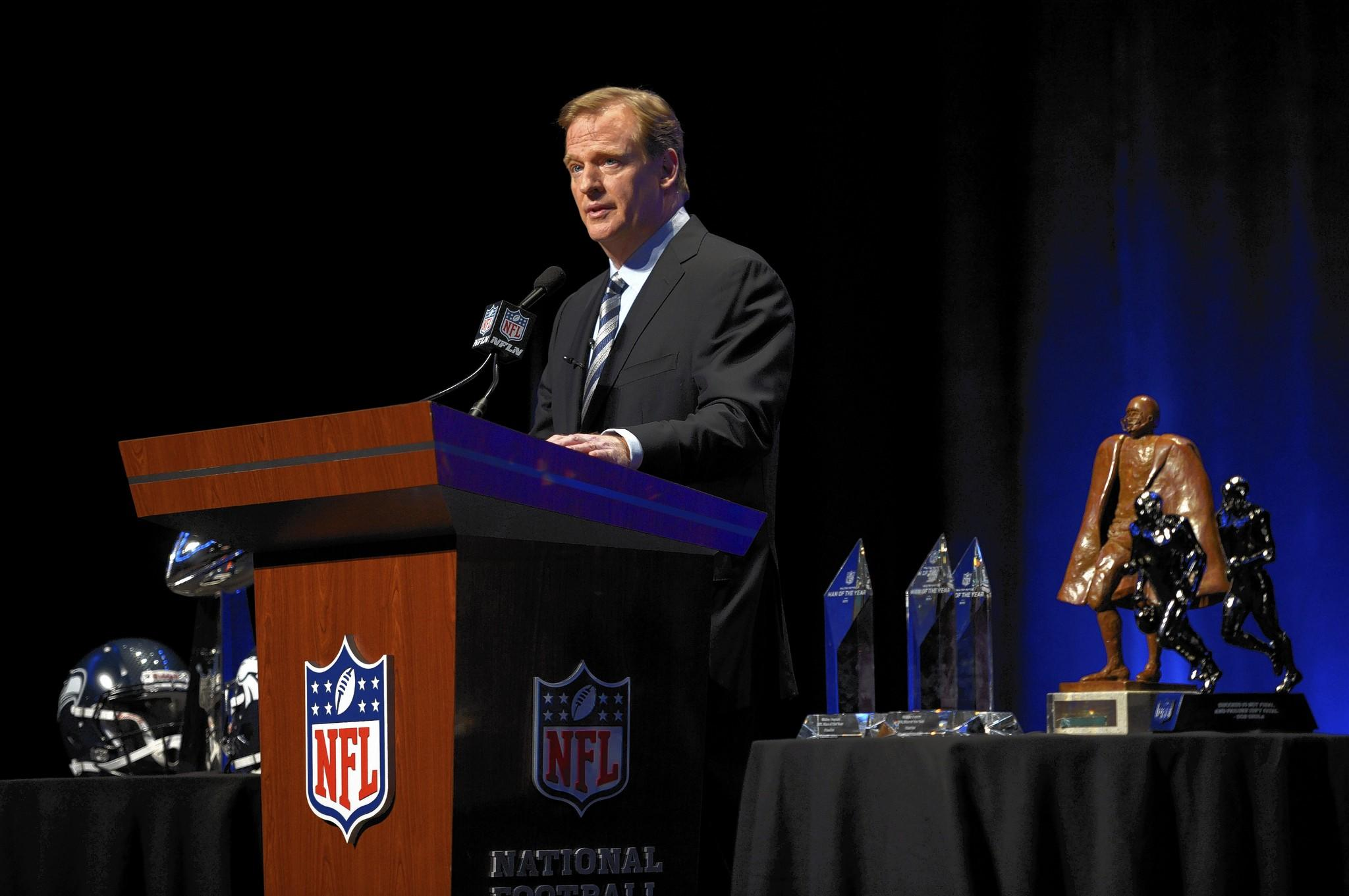 Jan 31, 2014; New York, NY, USA; NFL commissioner Roger Goodell addresses the media at Rose Theater in advance of Super Bowl XLVIII.