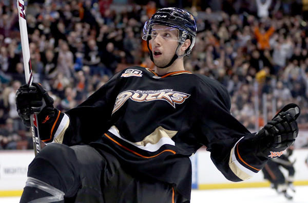Ducks center Nick Bonino celebrates after scoring against the Vancouver Canucks earlier this season.
