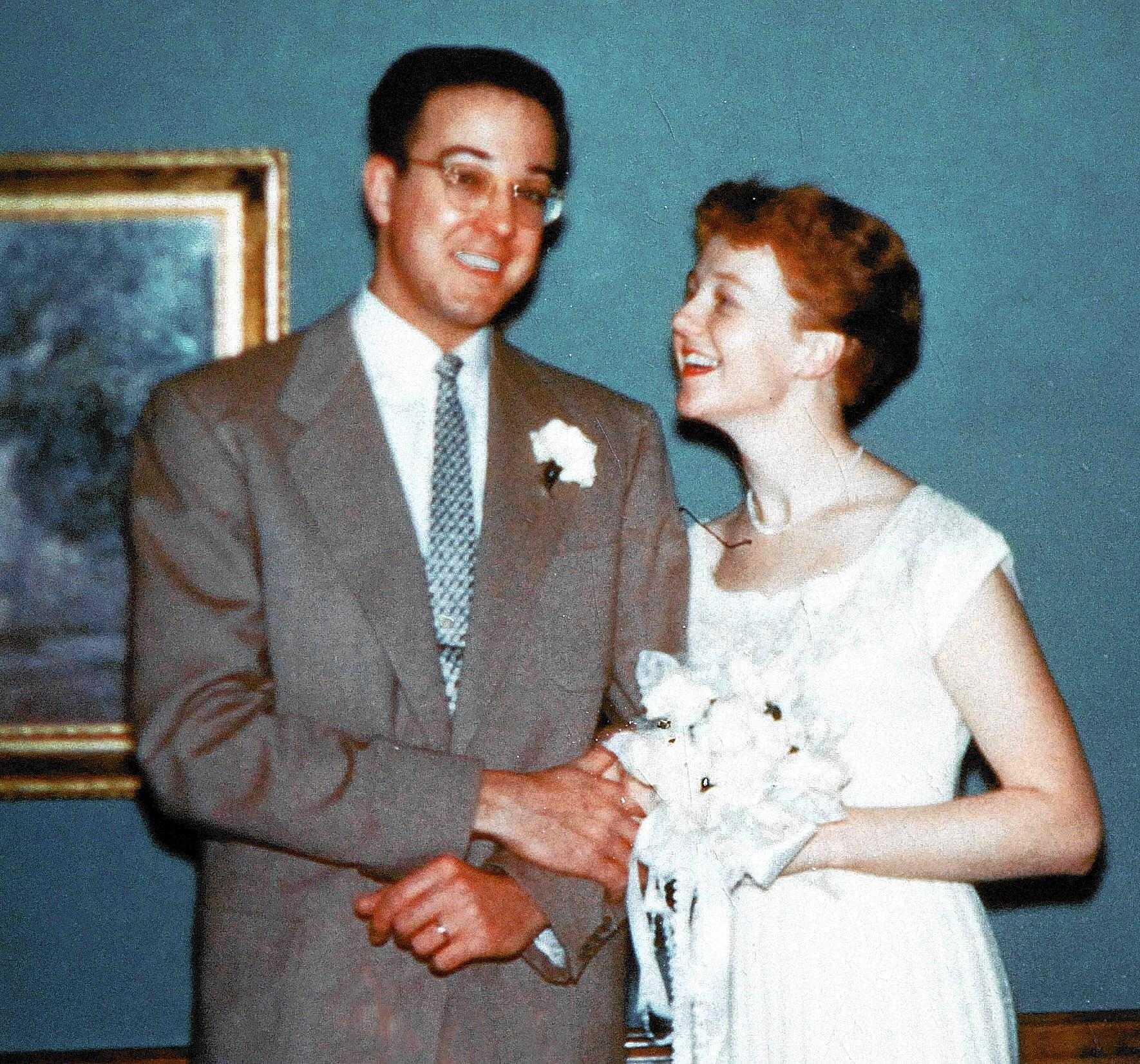 Jens and Fran Zorn on their wedding day, Jan. 28, 1954.