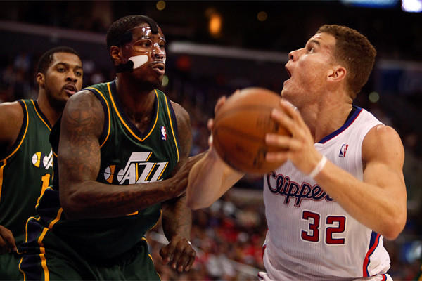 Clippers power forward Blake Griffin looks to score against Utah forward Marvin Williams during a game earlier this season at Staples Center.