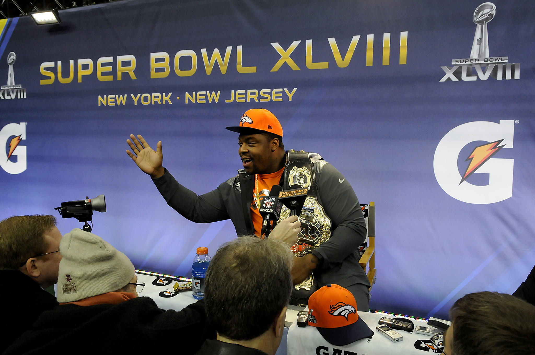 "Terrance Knighton of the Denver Broncos talks about how the nickname ""Pot roast"" came about during the Super Bowl Media Day at the Prudential Center in Newark, N.J., Tuesday."