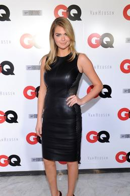 "Model Kate Upton wears a Dior dress and Jimmy Choo heels for GQ's pre-Super Bowl party in New York sponsored by Patron Tequila, Van Heusen and Miller Fortune. Upton <a href=""http://www.gq.com/women/photos/201207/kate-upton-gq-photos-july-2012"" target=""blank"">previously posed for the men's magazine's July 2012 cover.</a>"