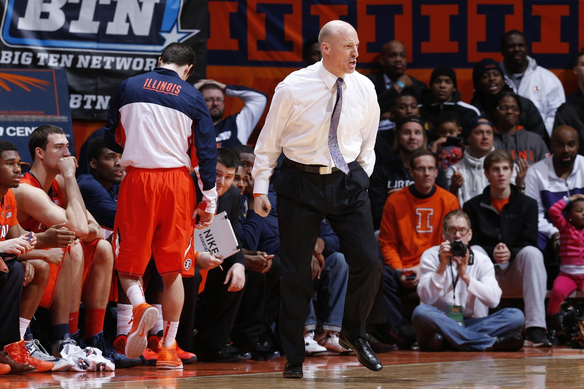 Head coach John Groce of the Illinois Fighting Illini reacts during the game against the Michigan State Spartans at State Farm Center on January 18, 2014 in Champaign, Illinois. Michigan State won the game 78-62.