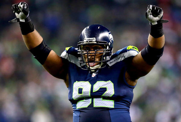 Seattle Seahawks defensive tackle Brandon Mebane celebrates a stop in the fourth quarter of the NFC championship game against the San Francisco 49ers.