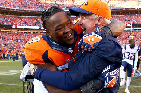 Broncos linebacker Danny Trevathan, a key playmaker for Denver's defense, embraces Coach John Fox after defeating the New England Patriots in the AFC championship game.