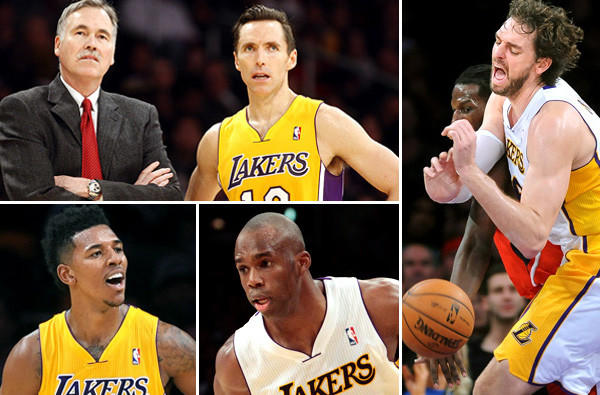 With the Lakers having little hope of making the playoffs this season, roster changes could be made, including the departure of Coach Mike D'Antoni and aging point guard Steve Nash (top left) as well as veteran 7-footer Pau Gasol (right). Swingmen Nick Young (bottom left) and Jodie Meeks (bottom right) have proved valuable.