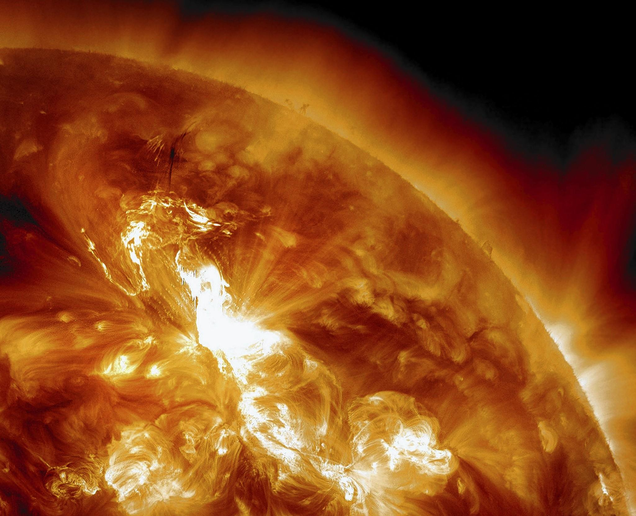A solar flare erupts in 2012. At a recent conference in Washington, officials discussed the potential danger of a massive solar storm and its potential effect on the power grid.