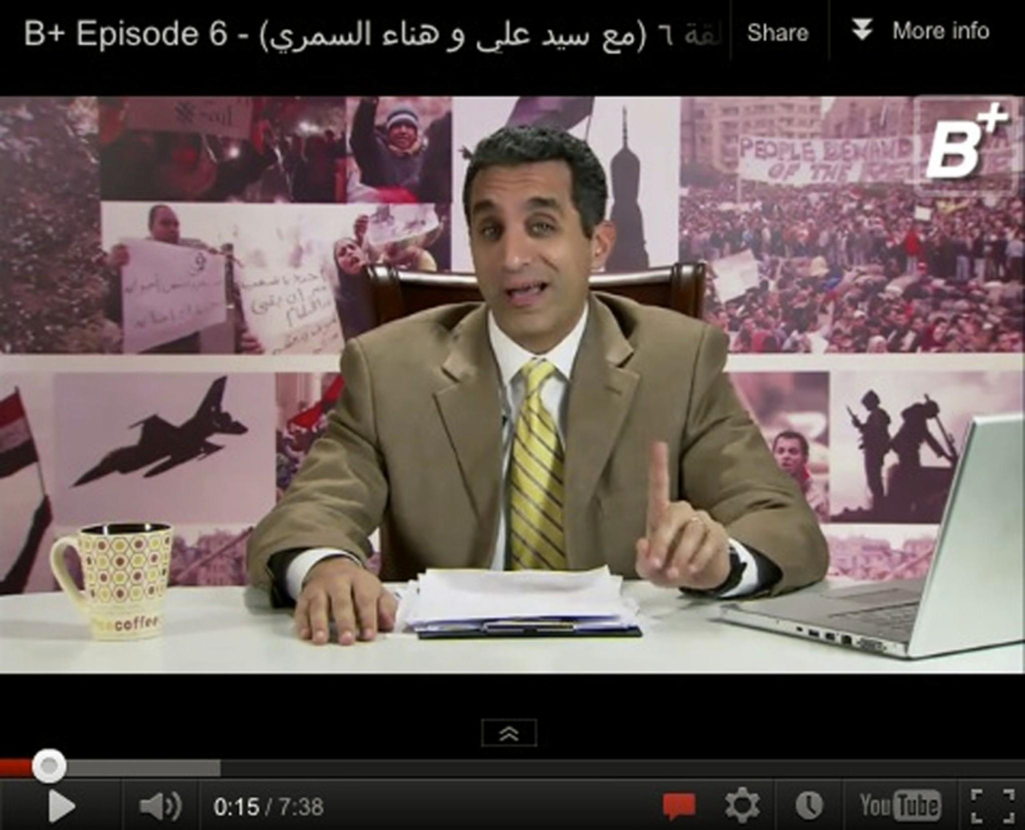 Bassem Youssef in a frame grab from his show. The comedian has run afoul of both the current ruler, Abdel Fattah Sisi, and the previous government, headed by Islamist Mohamed Morsi.