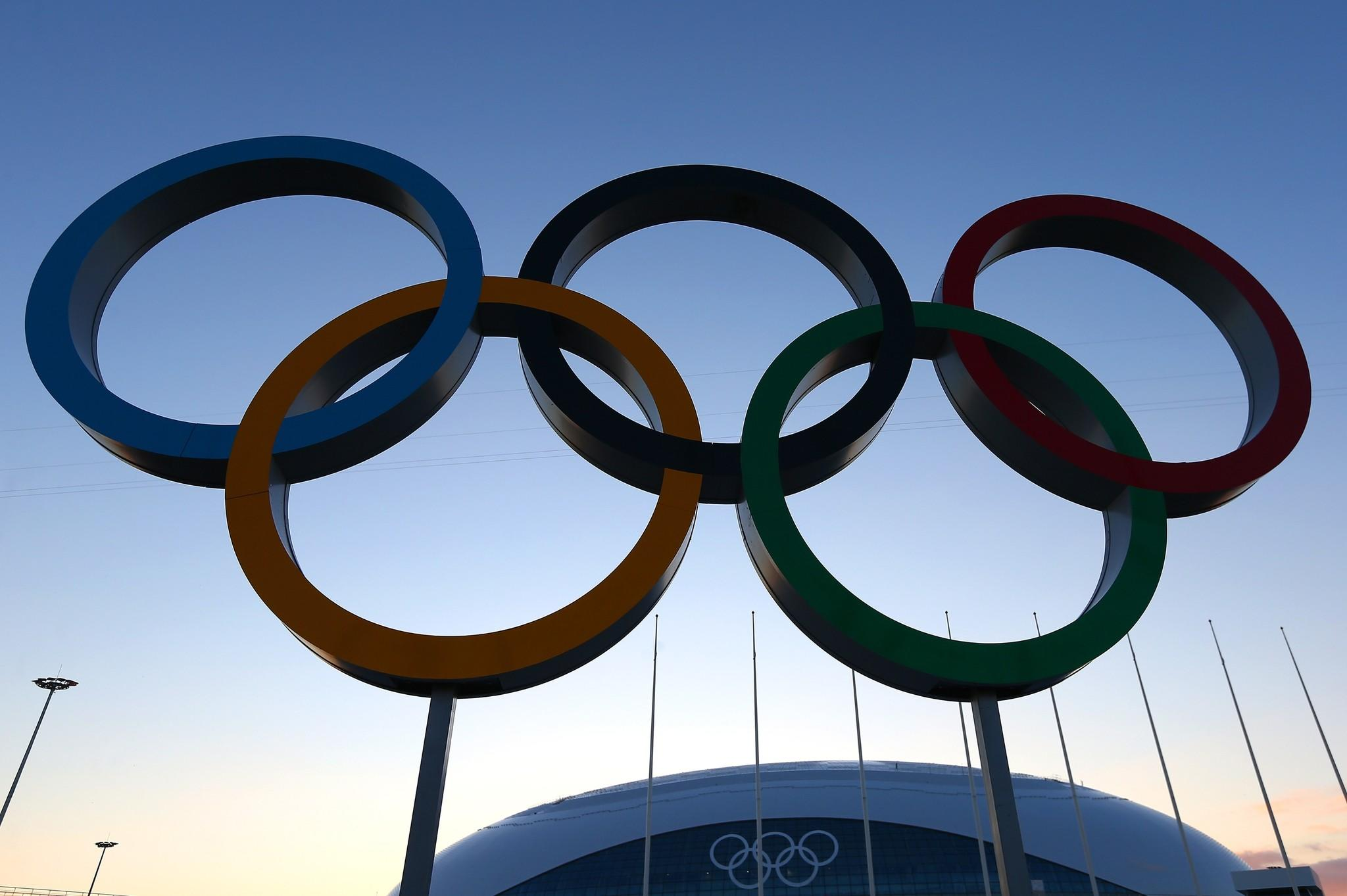 The Olympic rings stand in front of the Bolshoy Ice Dome at the Olympic Park.
