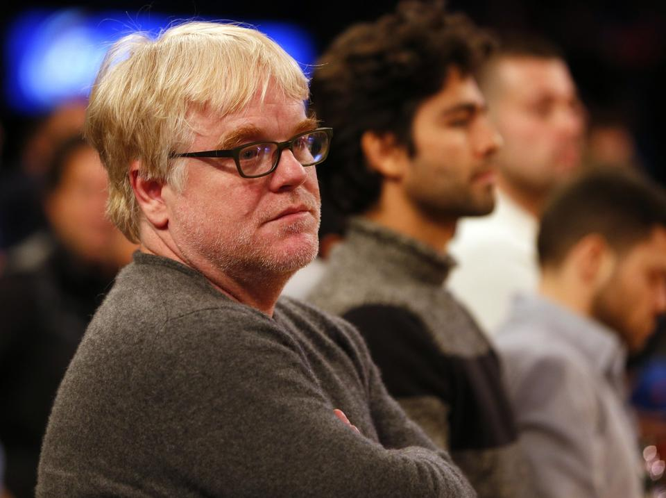 Philip Seymour Hoffman looks on as the Oklahoma City Thunder play the host New York Knicks at Madison Square Garden last year on Christmas Day.