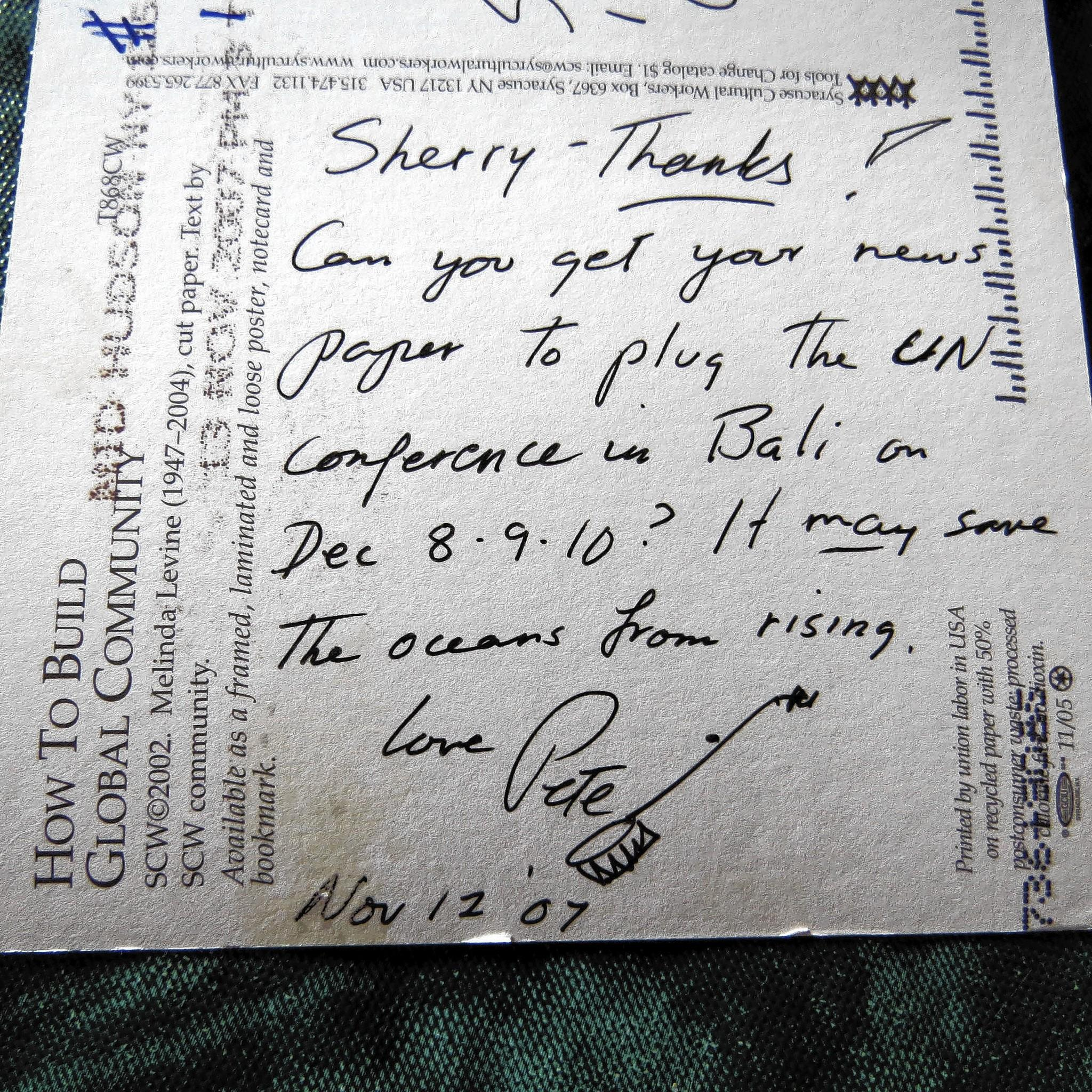 Postcard to columnist Sherry Boas from the late folk singer Pete Seeger.