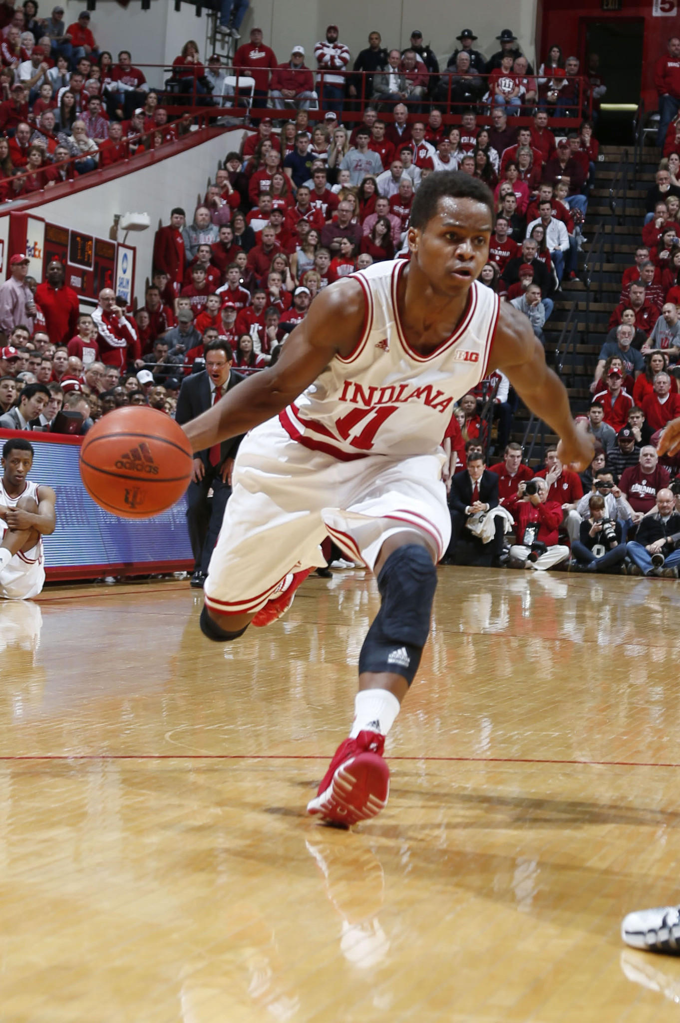 Indiana guard Yogi Ferrell drives to the basket against Michigan at Assembly Hall.