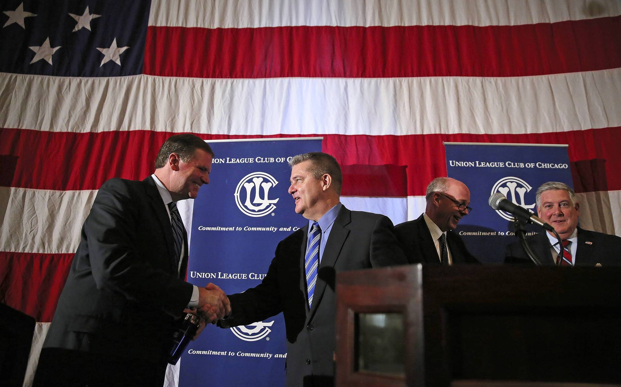 Republican candidates for Illinois governor meet at a forum in Naperville on Tuesday.