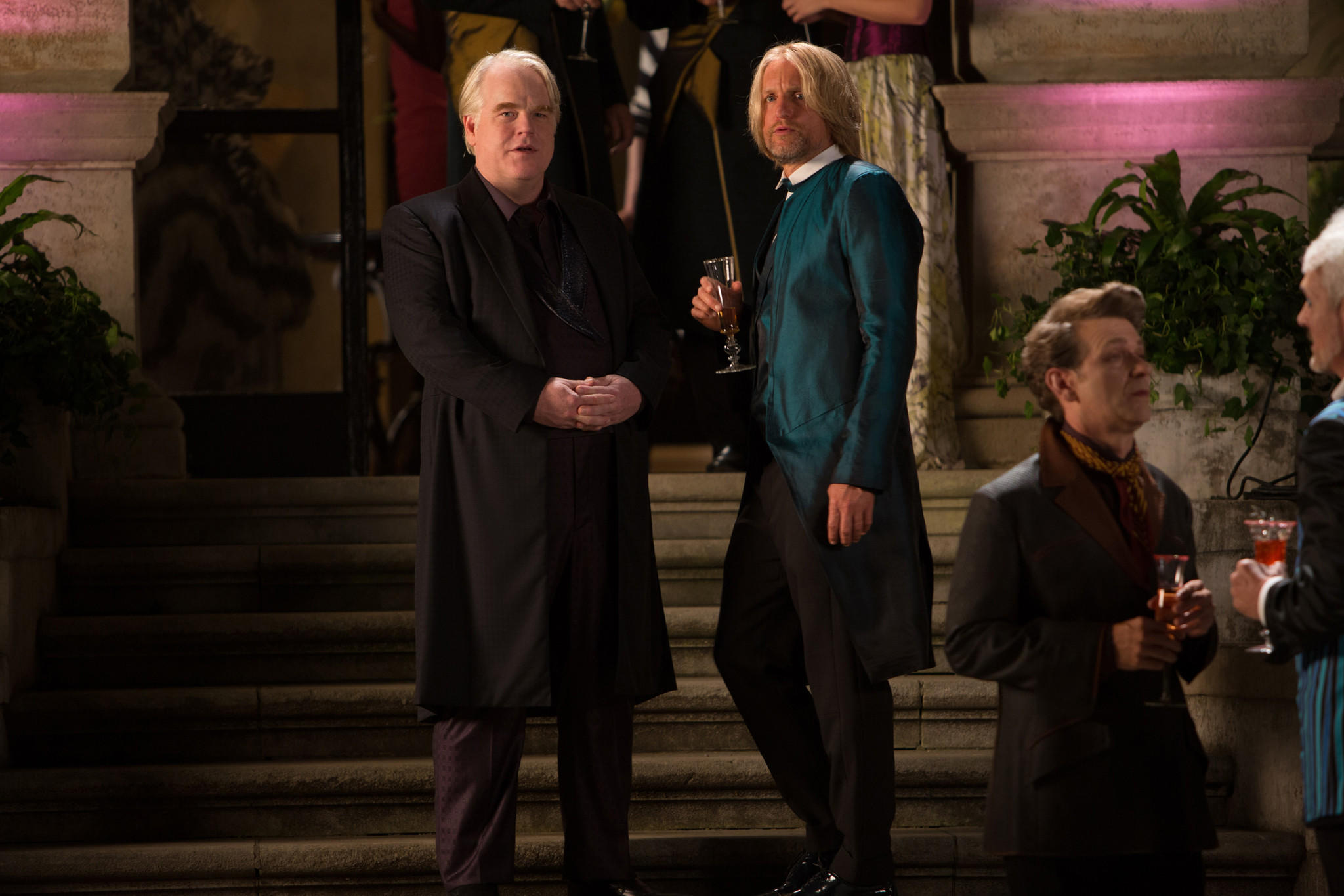 """Philip Seymour Hoffman and Woody Harrelson in """"Hunger Games: Catching Fire."""""""
