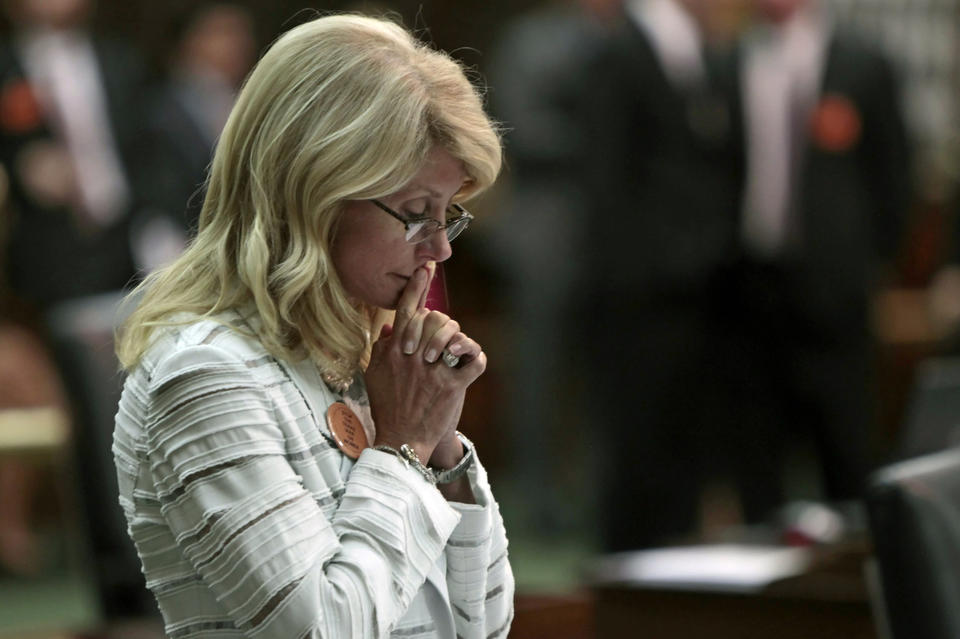 State Sen. Wendy Davis (D-Ft. Worth) contemplates during her 13-hour filibuster.