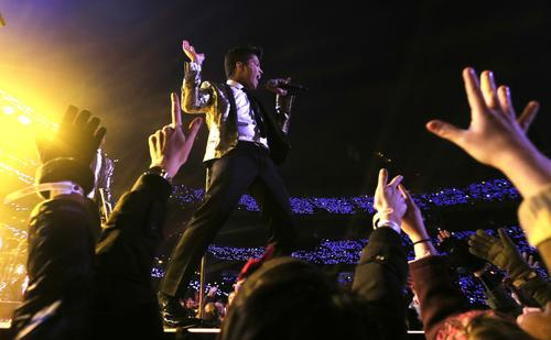 Bruno Mars performs during the Pepsi Super Bowl XLVIII Halftime Show at MetLife Stadium on Feb. 2 in East Rutherford, New Jersey.