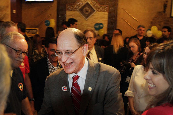 Rep. Brad Sherman (D-Sherman Oaks), center, at his election night party in 2012.