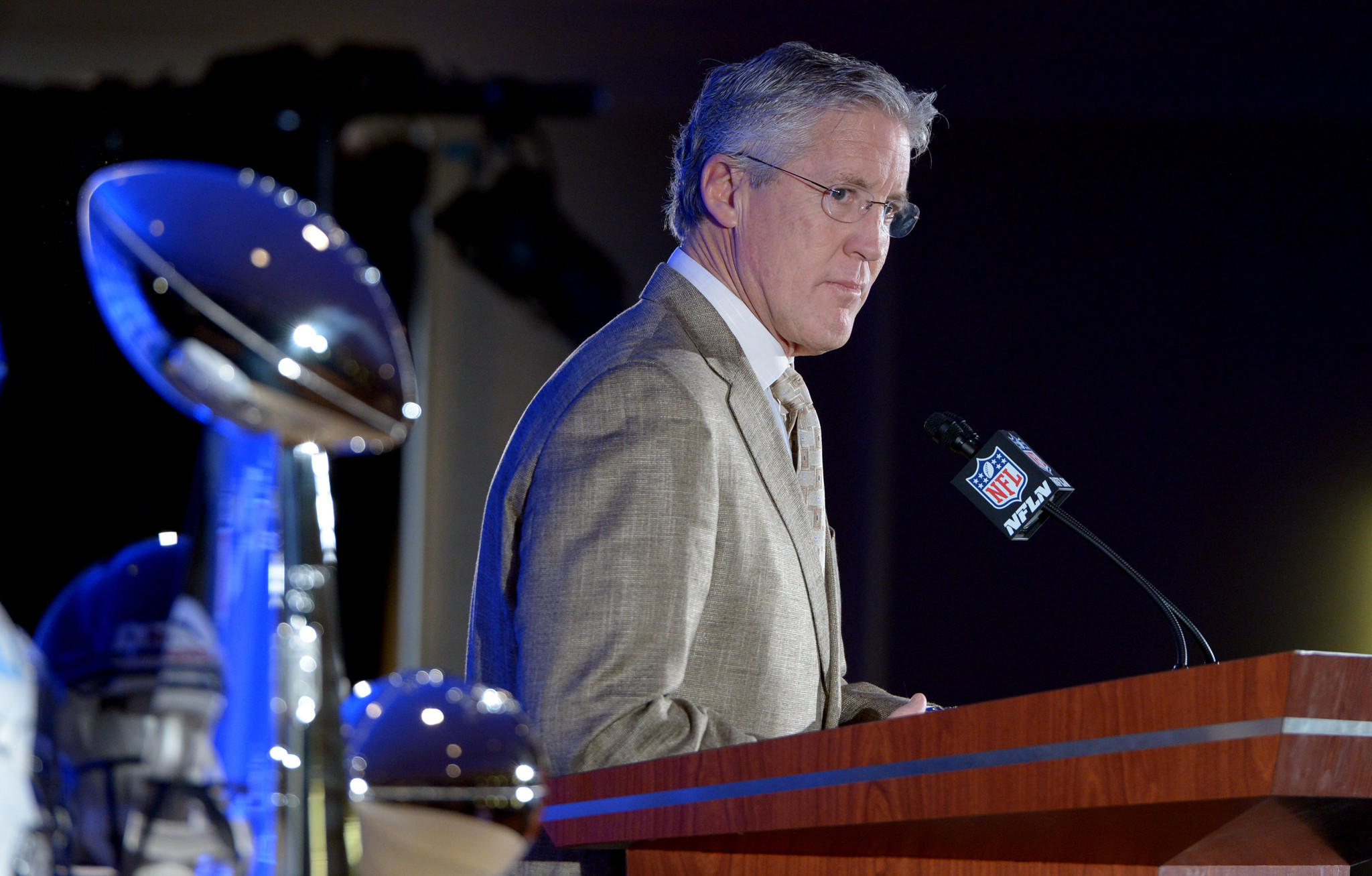 Seattle Seahawks coach Pete Carroll speaks during the winning team news conference the day after Super Bowl XLVIII at Sheraton New York Times Square.