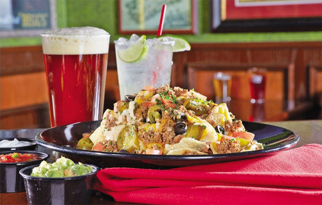 Nachos are among the plentiful pub foods that typify the Tilted Kilt.
