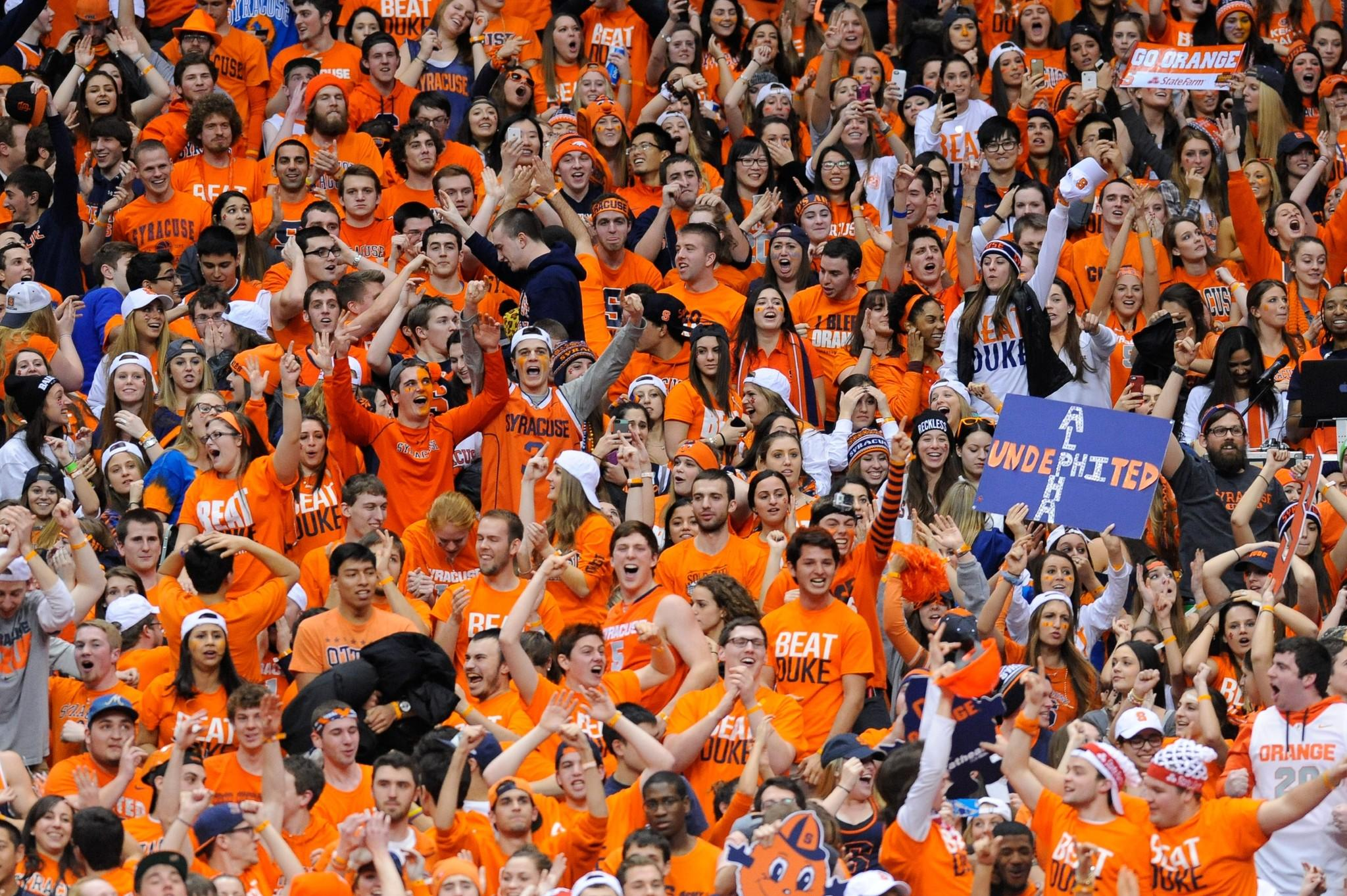 Syracuse fans cheer during Saturday's OT win over Duke.