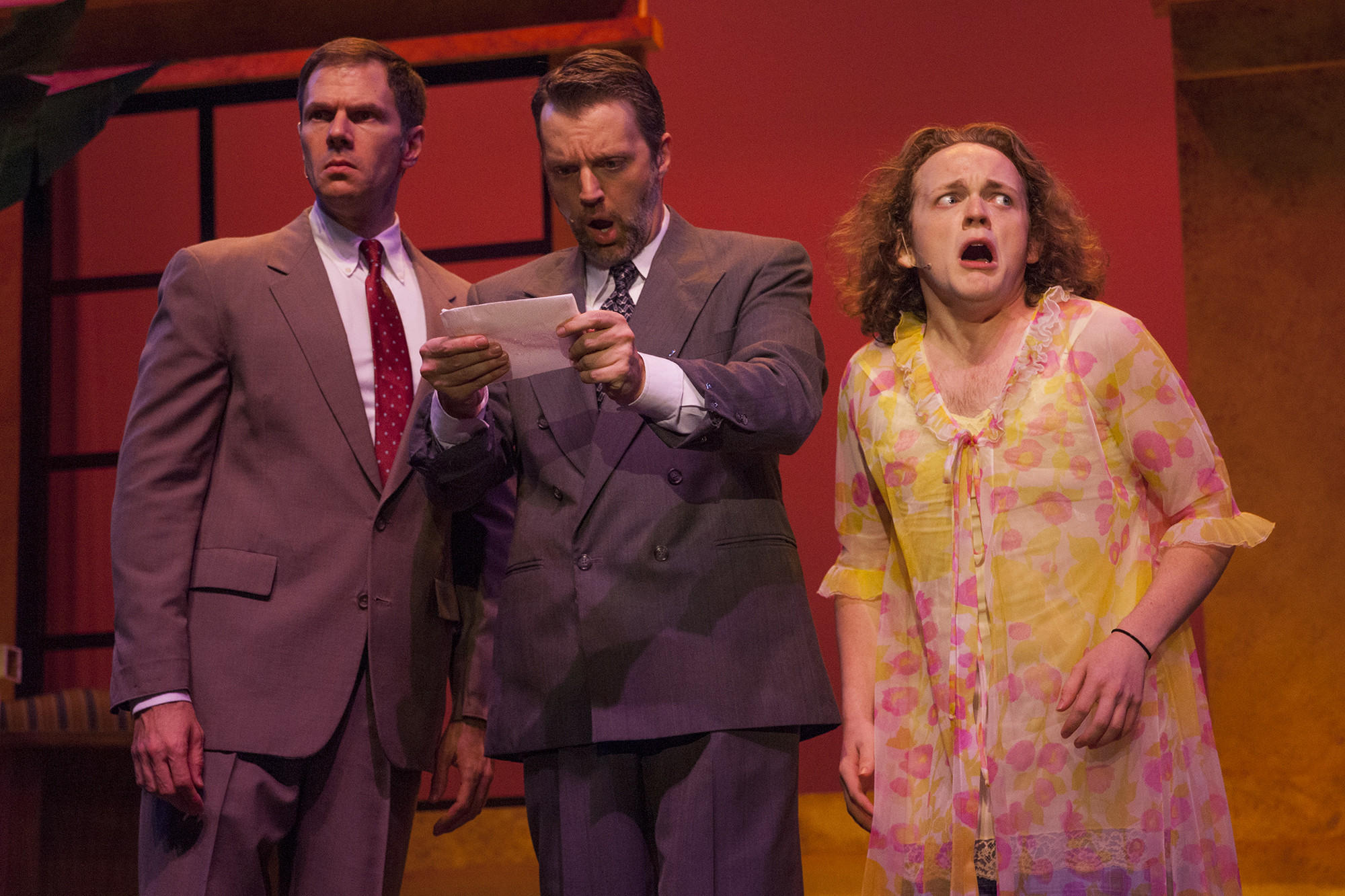 "Keith Smith (from left), David Almeida and Wesley Slade are up to no good in ""Dirty Rotten Scoundrels."""