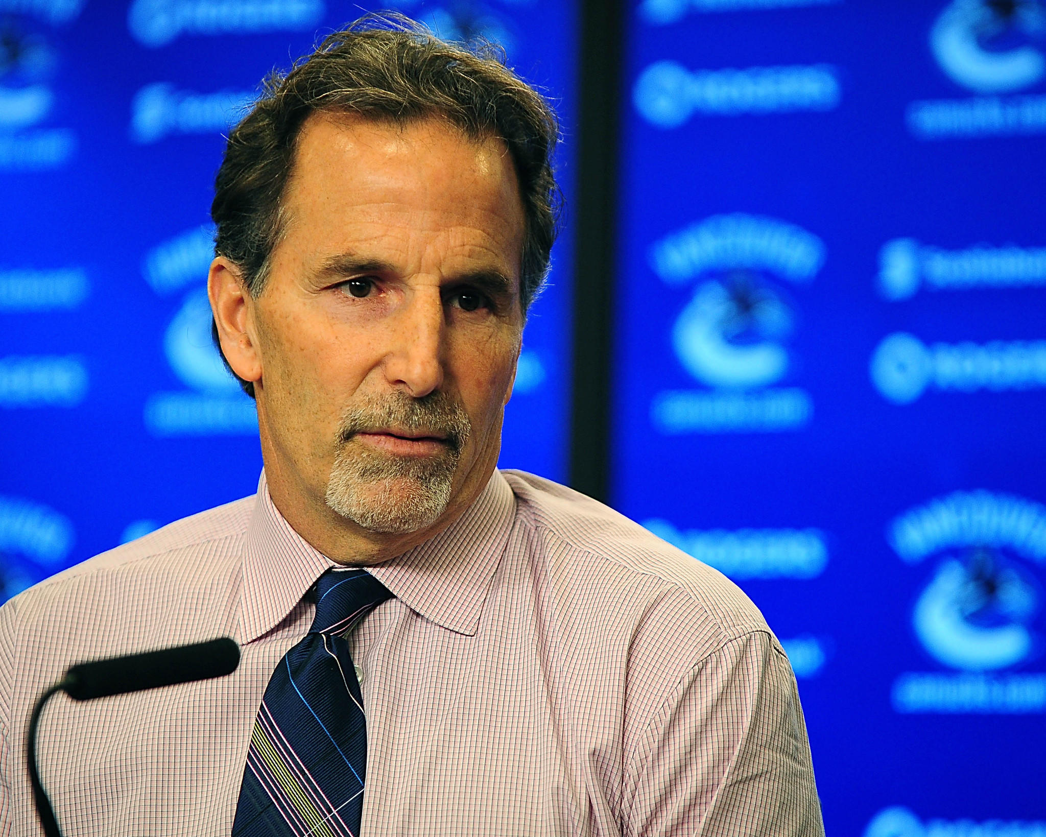 Canucks coach John Tortorella addresses the media after the game against the Calgary Flames at Rogers Arena.
