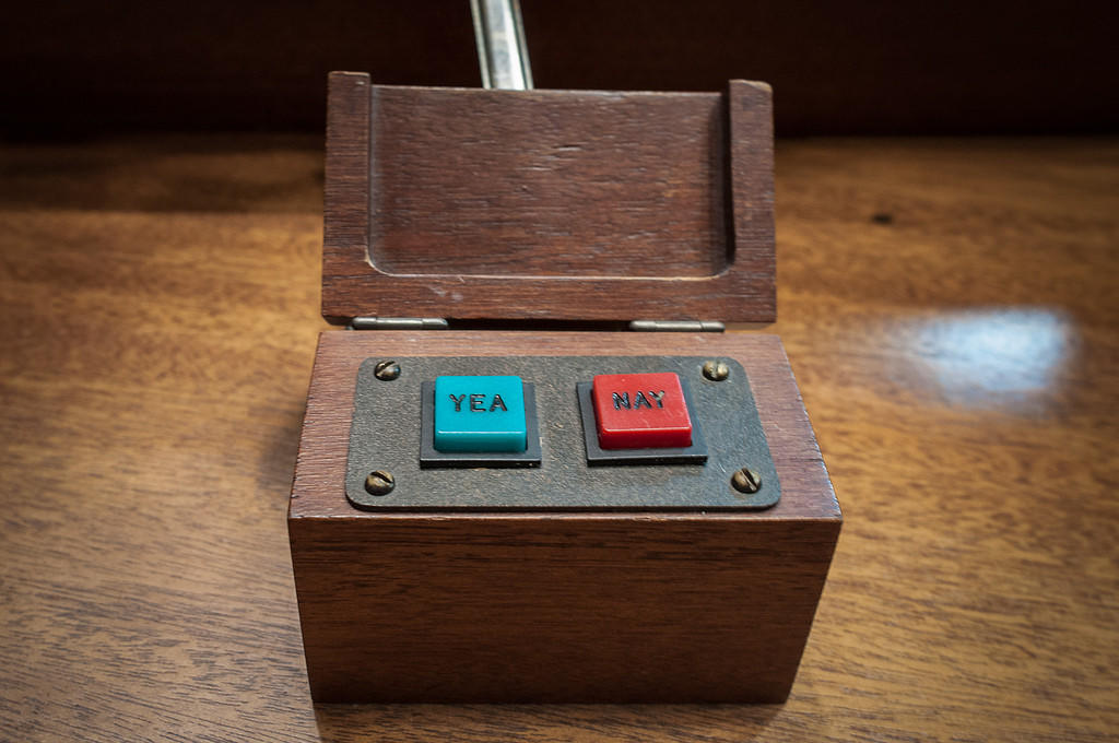 A vote box sits on a desk in the state Senate chambers at the Connecticut state Capitol.