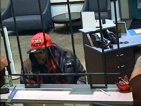 The FBI is seeking the man in this photo, who they say robbed a bank in the city on Monday.