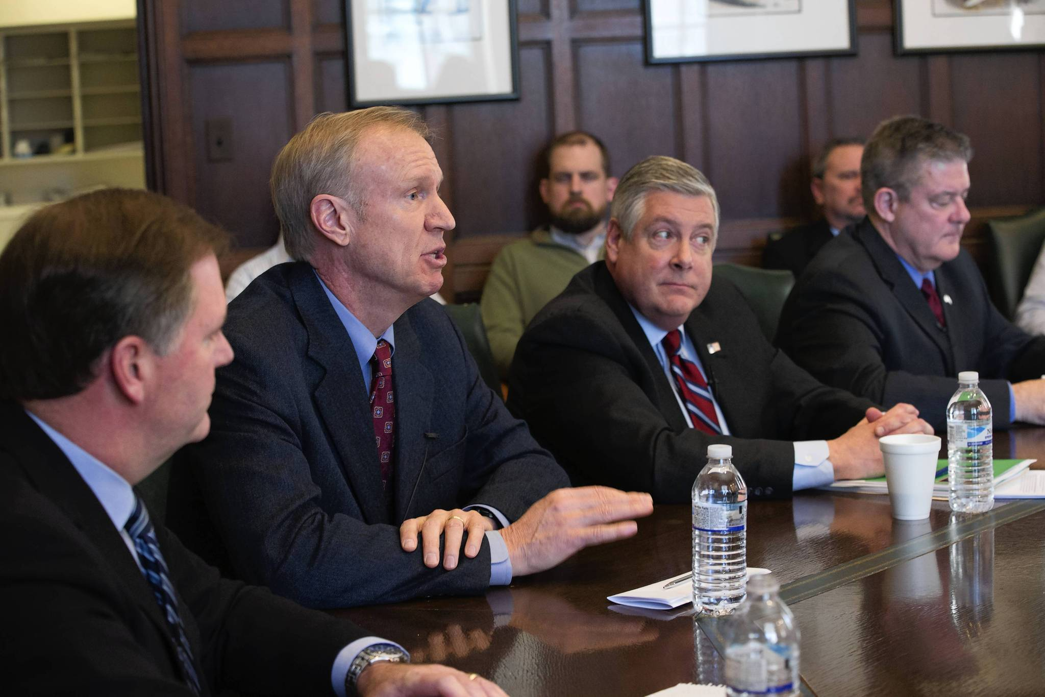 Republican gubernatorial candidates from left, Bill Brady, Bruce Rauner, Kirk Dillard and Dan Rutherford met with the Tribune's editorial board on Monday.