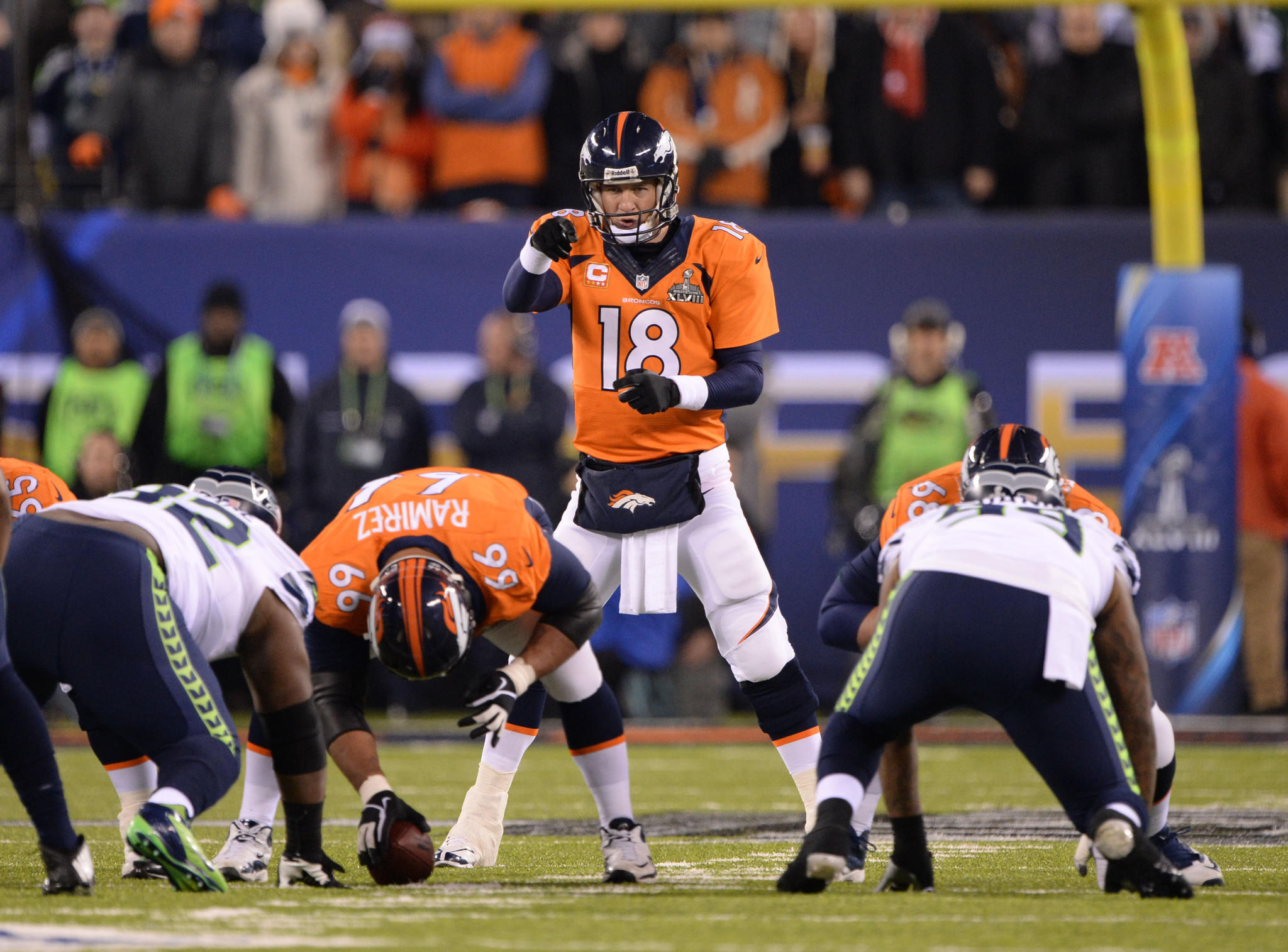 Broncos quarterback Peyton at the line in Super Bowl XLVIII against the Seattle Seahawks.